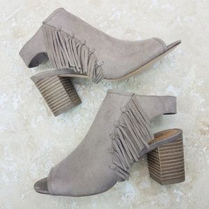Yellow Box Fringe Taupe Licia Suede Booties